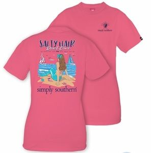 NWT Simply Southern Salty Hair Don't Care tee, S